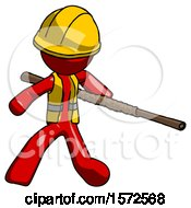 Red Construction Worker Contractor Man Bo Staff Action Hero Kung Fu Pose