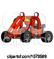 Red Construction Worker Contractor Man Riding Sports Buggy Side Angle View