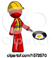 Red Construction Worker Contractor Man Frying Egg In Pan Or Wok Facing Right