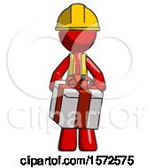 Red Construction Worker Contractor Man Gifting Present With Large Bow Front View