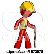 Red Construction Worker Contractor Man Walking With Hiking Stick
