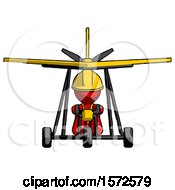 Red Construction Worker Contractor Man In Ultralight Aircraft Front View