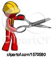 Red Construction Worker Contractor Man Holding Giant Scissors Cutting Out Something