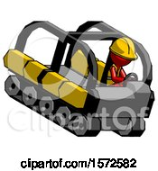 Red Construction Worker Contractor Man Driving Amphibious Tracked Vehicle Top Angle View