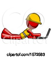 Red Construction Worker Contractor Man Using Laptop Computer While Lying On Floor Side View