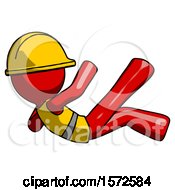 Red Construction Worker Contractor Man Falling Backwards