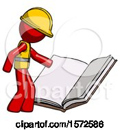 Red Construction Worker Contractor Man Reading Big Book While Standing Beside It