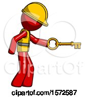 Red Construction Worker Contractor Man With Big Key Of Gold Opening Something