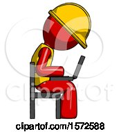 Red Construction Worker Contractor Man Using Laptop Computer While Sitting In Chair View From Side