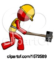 Red Construction Worker Contractor Man Hitting With Sledgehammer Or Smashing Something
