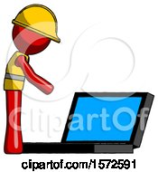 Red Construction Worker Contractor Man Using Large Laptop Computer Side Orthographic View