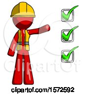 Red Construction Worker Contractor Man Standing By List Of Checkmarks