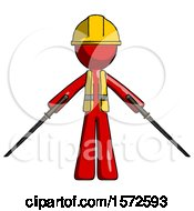 Red Construction Worker Contractor Man Posing With Two Ninja Sword Katanas
