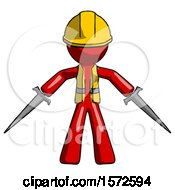 Red Construction Worker Contractor Man Two Sword Defense Pose