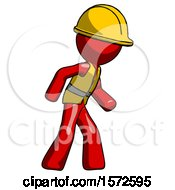 Red Construction Worker Contractor Man Suspense Action Pose Facing Right