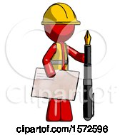 Red Construction Worker Contractor Man Holding Large Envelope And Calligraphy Pen