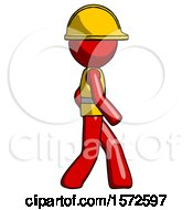 Red Construction Worker Contractor Man Walking Right Side View