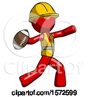 Red Construction Worker Contractor Man Throwing Football