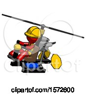 Red Construction Worker Contractor Man Flying In Gyrocopter Front Side Angle Top View
