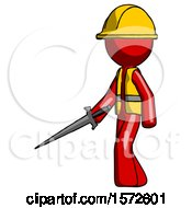 Red Construction Worker Contractor Man With Sword Walking Confidently