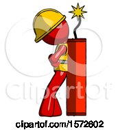 Red Construction Worker Contractor Man Leaning Against Dynimate Large Stick Ready To Blow