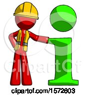 Red Construction Worker Contractor Man With Info Symbol Leaning Up Against It
