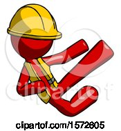 Red Construction Worker Contractor Man Flying Ninja Kick Right