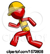 Red Construction Worker Contractor Man Running Fast Left