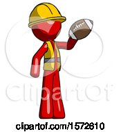 Red Construction Worker Contractor Man Holding Football Up