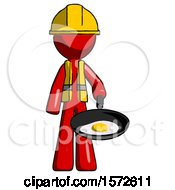 Red Construction Worker Contractor Man Frying Egg In Pan Or Wok