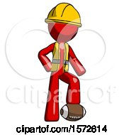 Red Construction Worker Contractor Man Standing With Foot On Football