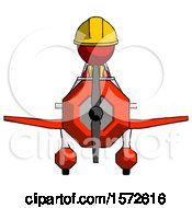 Red Construction Worker Contractor Man In Geebee Stunt Plane Front View