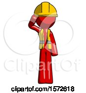 Red Construction Worker Contractor Man Soldier Salute Pose