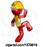 Red Construction Worker Contractor Man Kick Pose Start