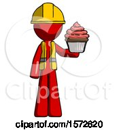 Red Construction Worker Contractor Man Presenting Pink Cupcake To Viewer