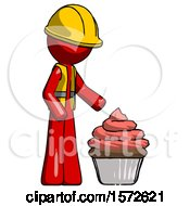 Red Construction Worker Contractor Man With Giant Cupcake Dessert