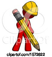 Red Construction Worker Contractor Man Writing With Large Pencil