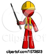 Red Construction Worker Contractor Man Standing Up With Ninja Sword Katana