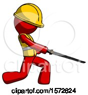 Red Construction Worker Contractor Man With Ninja Sword Katana Slicing Or Striking Something