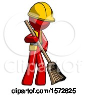 Red Construction Worker Contractor Man Sweeping Area With Broom
