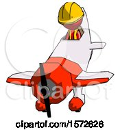 Red Construction Worker Contractor Man In Geebee Stunt Plane Descending Front Angle View