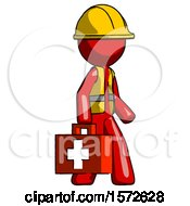 Red Construction Worker Contractor Man Walking With Medical Aid Briefcase To Right