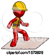 Red Construction Worker Contractor Man On Postage Envelope Surfing
