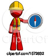 Red Construction Worker Contractor Man Holding A Large Compass