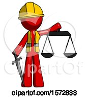 Red Construction Worker Contractor Man Justice Concept With Scales And Sword Justicia Derived