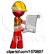 Red Construction Worker Contractor Man Holding Blueprints Or Scroll
