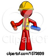Red Construction Worker Contractor Man Red Pill Or Blue Pill Concept