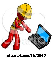 Red Construction Worker Contractor Man Throwing Laptop Computer In Frustration