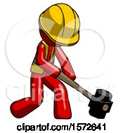 Red Construction Worker Contractor Man Hitting With Sledgehammer Or Smashing Something At Angle