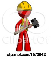 Red Construction Worker Contractor Man With Sledgehammer Standing Ready To Work Or Defend